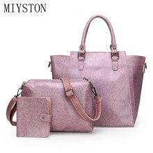3pcs/set PU Leather Women Handbags Luxury Brand Tote Bag+Ladies Shoulder Bag+Card&ID Holder Bag Suit Top-handle Bolsa Feminina