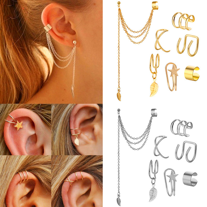 Hot selling geometric ear clip set no pierced ear clip cross ear clip unisex female and male party gifts wholesale