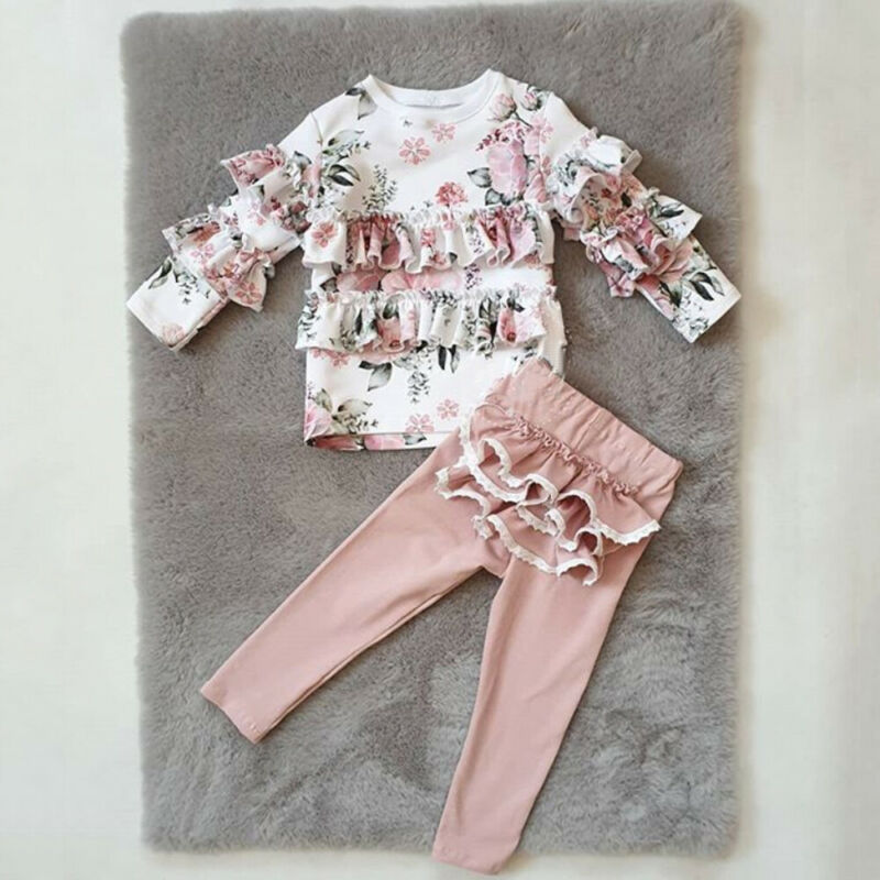 UK Toddler Kids Baby Girl Ruffle Floral Tops Pants Leggings 2Pcs Outfits Clothes