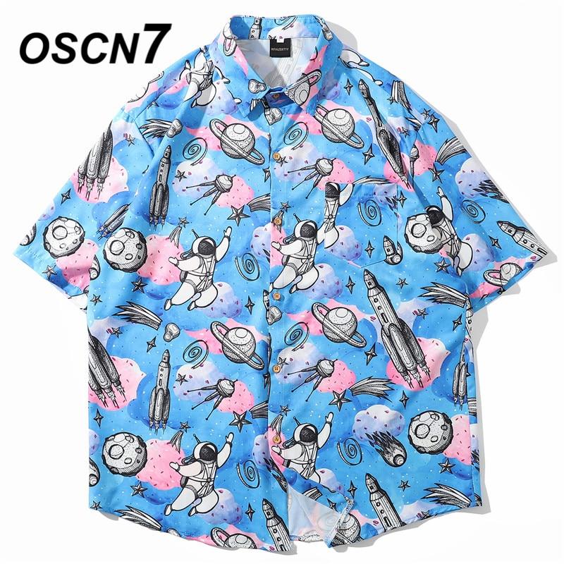 OSCN7 Casual Streetwear Beach Printed Short Sleeve Shirt Men 2020 Hawaii Oversize Fashion Harujuku Women Shirts 8003