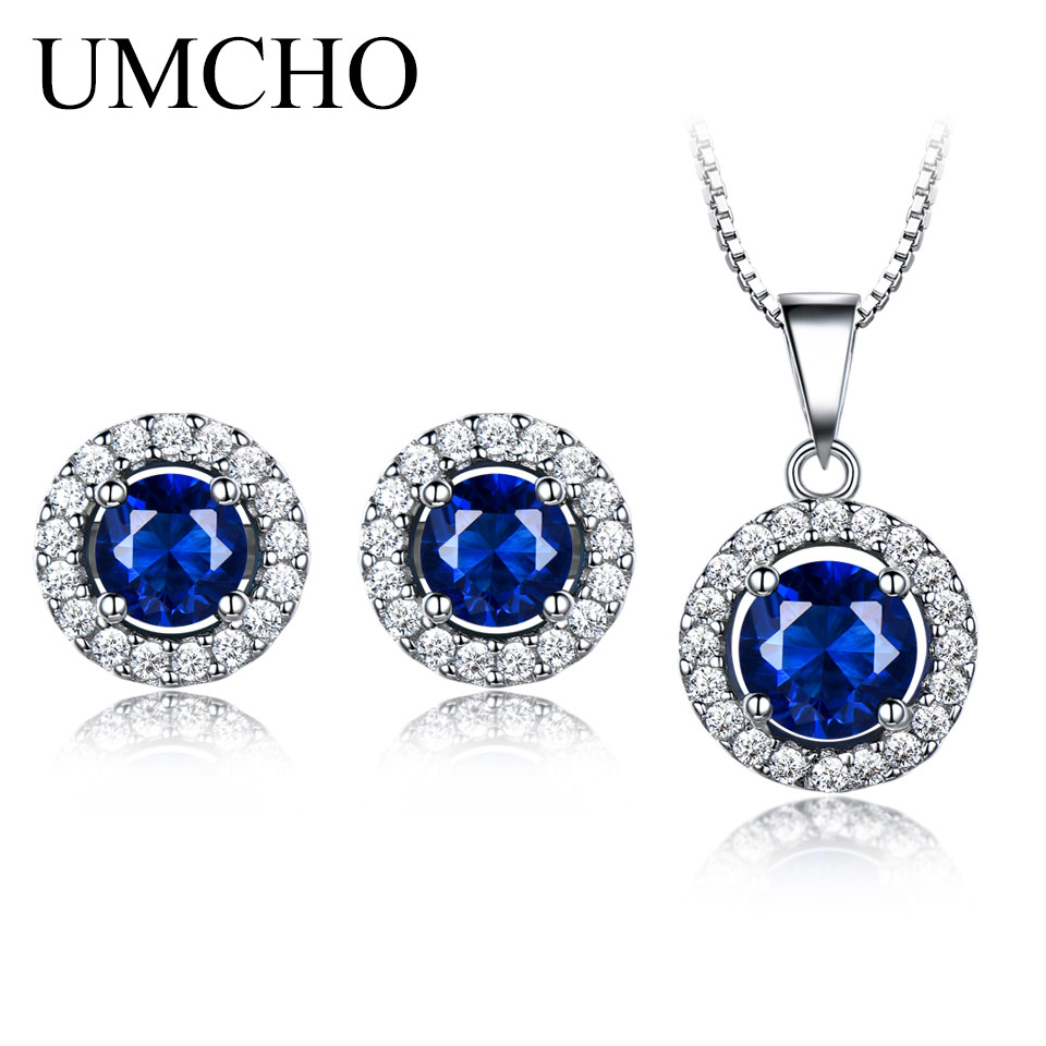 UMCHO 925 Sterling Silver Jewelry Set Nano Blue Sapphire Pendant Stud Earrings For Women Brand Fine Jewelry Top Quality