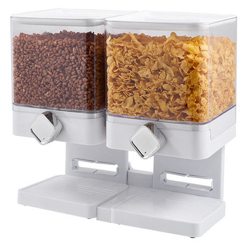 Canister Dry Food Snack Cereal Dispenser Home Space Saving Fresh Household Large Multifunctional Double Storage Container|Door Handles| |  - title=