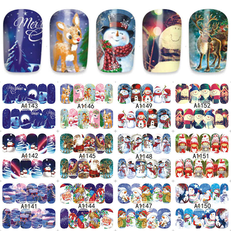 12pcs Christmas Nail Stickers Water Decals Snowman Santa Clause Deer Maple Nail Art New Year Slider Manicure Full Wraps Tools