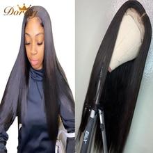 Lace Frontal Human Hair Wigs Straight 5x5 HD Transparet Lace Closure Wigs Bone Straight Lace Front Wig Peruvian Dorisy Remy Hair