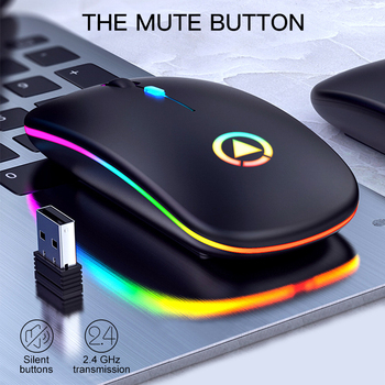 Wireless USB Mouse RGB Computer Mouse Silent PC  Rechargeable Ergonomic Mouse With LED Backlit USB Optical Mice For PC Laptop chyi wired left hand vertical mouse ergonomic led backlit 1600dpi adjustable usb power wrist protect mice with mousepad kit pc