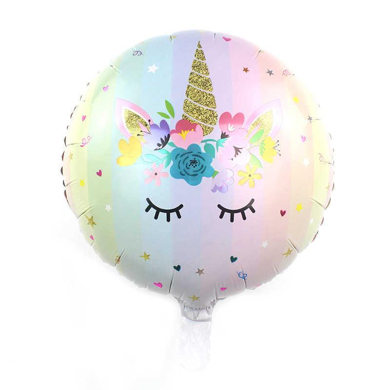 """Nuovo regalo di Disegno Di Compleanno Decorazione Del Partito Unicorno Stagnola Palloncino 18 """"Round Forma di Unicorno Stagnola Pallone Ad Elio"""