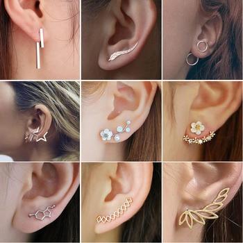 SMJEL Bohemian Vintage Earrings Jewelry Leaf Geometric Round Stud Earrings For Women Simple Bar Leaf Earing Ear Climber Girls