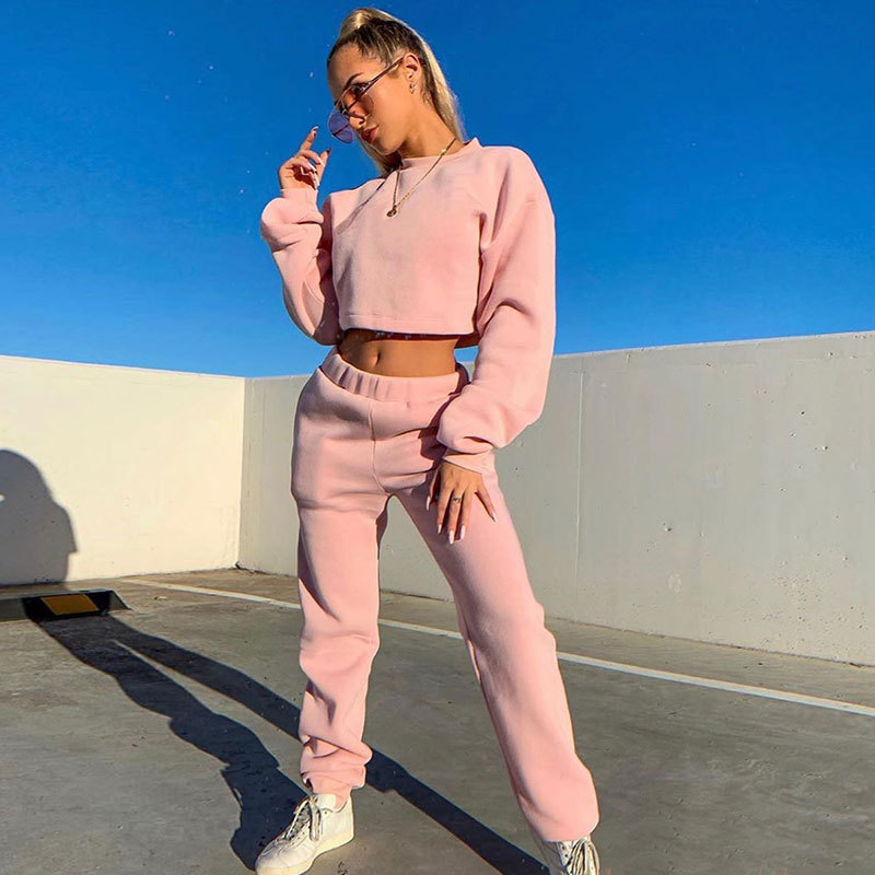 Fleece Lined Two Piece Tracksuit Set Women Pullover Sweatshirts Crop Top And Joggers Pants Matching Set Ladies Warm Sweatsuit