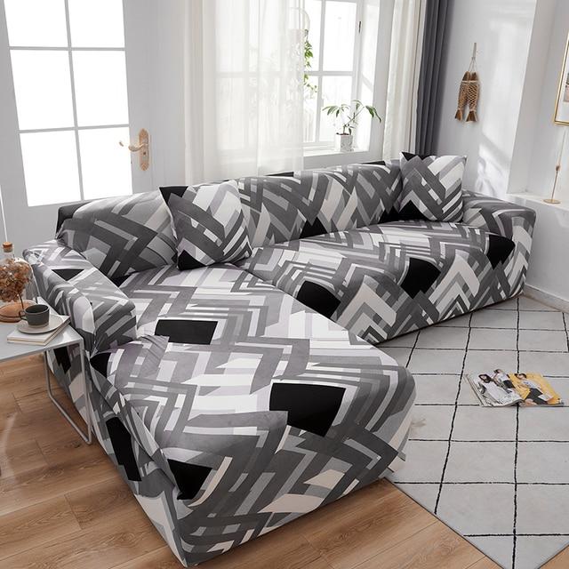 funda sofa elástica slipcovers l forma capas de sofá para sala de estar elastano barato secional capa de sofá 1/2/3/4 seater estiramento