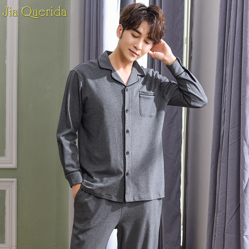 Men Pajama Sets High Quality Brand Pajams Male 100% Cotton Sleepwear Grey Solid Luxury Home Clothing Long Sleeve Winter Pajamas