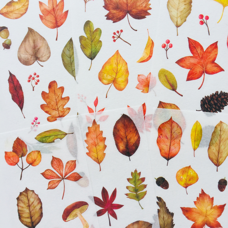 6 Sheet Autumm Leaf Washi Paper Decorative Adhesive Stickers