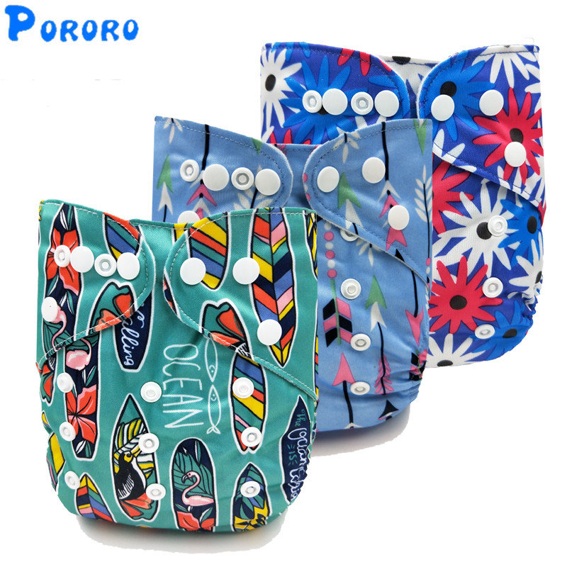 1 PCS Washable Diapers Baby Diaper Nappy Cover Washable  Cartoon Print Baby Nappy Changing Reusable Baby Cloth Diapers
