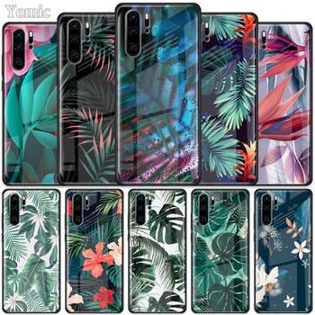 Перейти на Алиэкспресс и купить Чехол из закаленного стекла с тропическим зеленым растительным листком для Huawei P30 P40 Pro Plus P20 Lite P Smart 2019 Nova 5i 5T 5z 7i