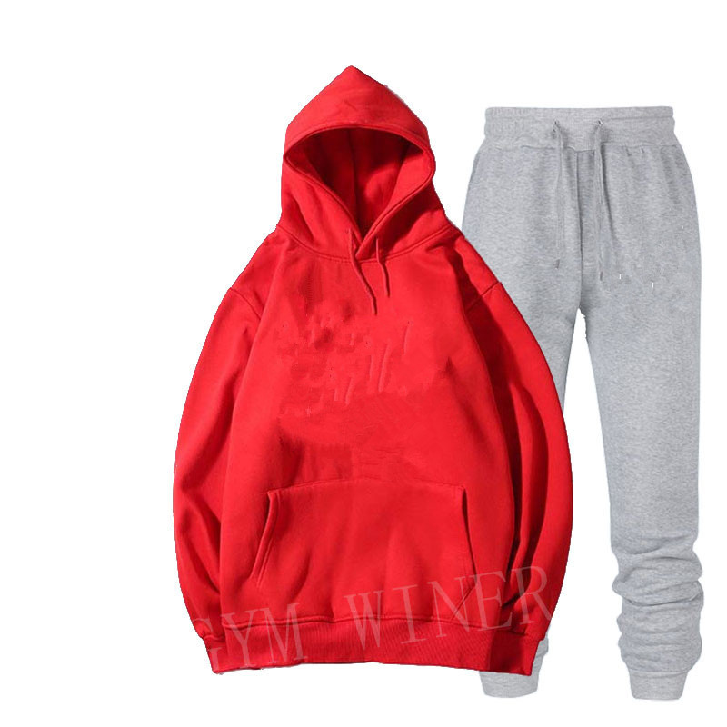 Image 4 - Mens and womens unisex 2 piece hooded trousers sportswear pullover sweatshirt trousers 2 piece sportswear suitMens Sets   -