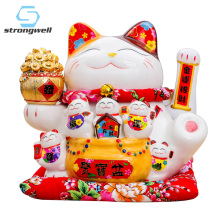 Strongwell Japanese Large Lucky Cat Figurine Ceramic Creative Home Decoration Accessories Royal Feng Shui Decor Craft