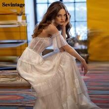 Пляжное кружевное свадебное платье с коротким рукавом Деревенское