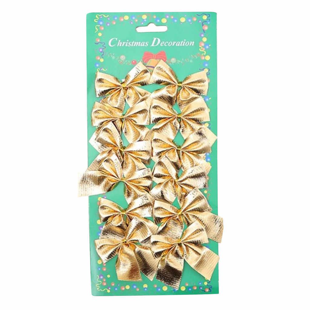 12pcs ทองเงินสีแดงคริสต์มาส Bows เครื่องประดับคริสต์มาสตกแต่งต้นคริสต์มาส Bowknots Baubles Noel คริสต์มาสปีใหม่ตกแต่งอุปกรณ์