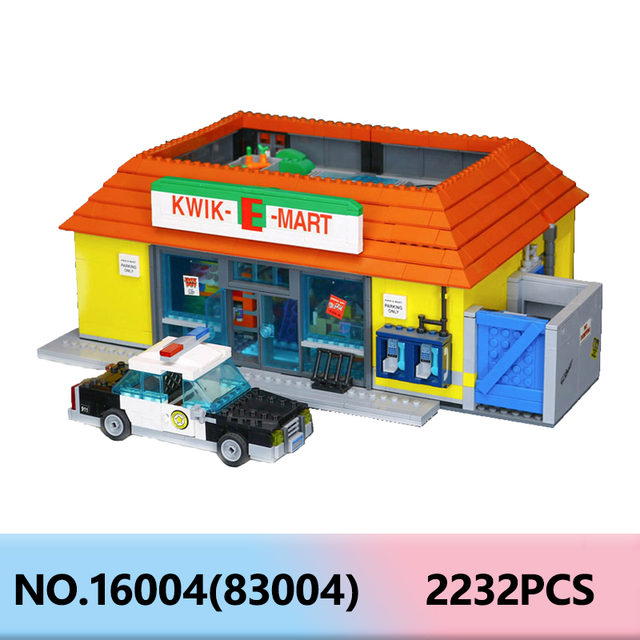 Movie Series Lepining 16004 Simpsons House Kwik-E-Mart Model Building Blocks 71016 Architecture Bricks Set Kids Toys Gift