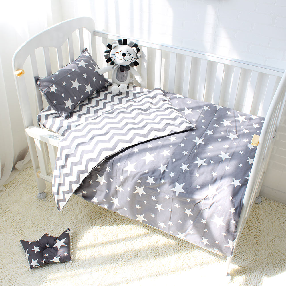 3pcs Baby Bedding Set Cotton Crib Bed Black White Star Dot Tree Pattern Baby Bed Set Including Duvet Cover Pillowcase Flat Sheet