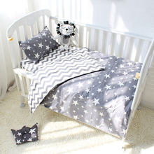 3pcs Baby Bedding Set Cotton Crib Bed Black White Star Dot Tree Pattern Baby Bed Set Including Duvet Cover Pillowcase Flat Sheet(China)