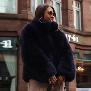 Image 4 - Fashion Stand Collar Women Genuine Fox Fur Coats Thick Warm Natural Full Pelt Blue Fox Fur Jacket Real Fur Overcoats Winter 2020
