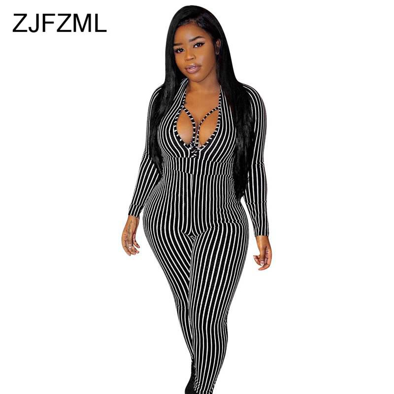 Black White Stripe Sexy Bandage Romper Women Deep V Neck Cross Skinny Club Party   Jumpsuit   Autumn Long Sleeve One Piece Bodysuit