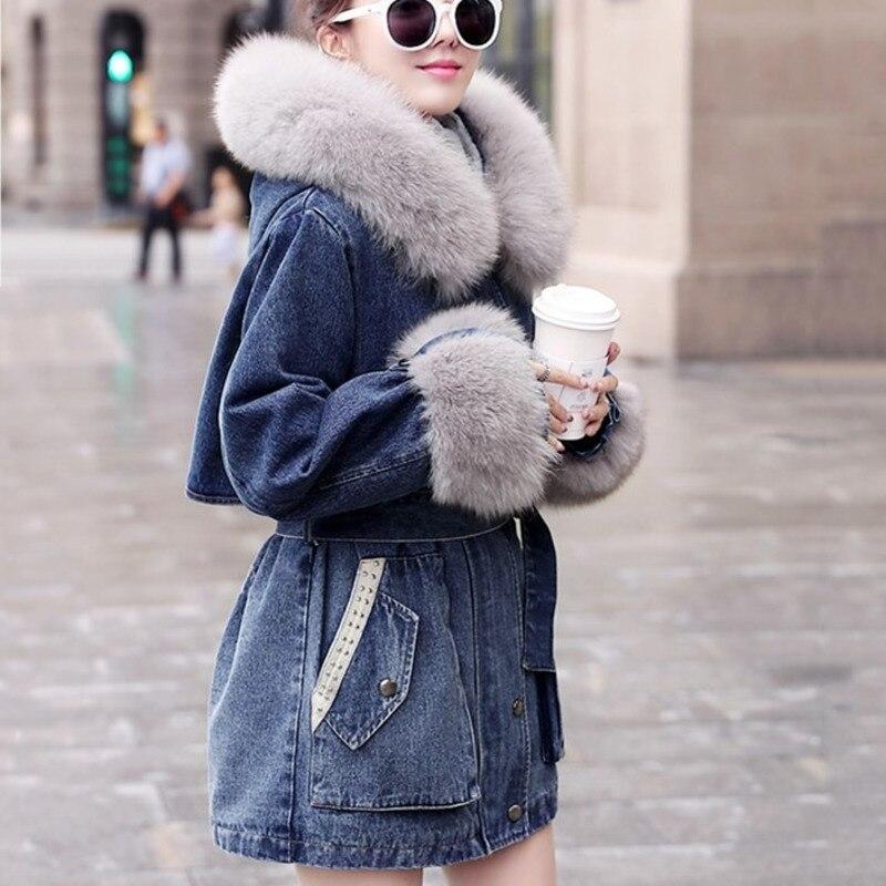 Womens Winter Long Jeans Jacket Fleece Lined Denim Coat Warm Thick Parka Outwear