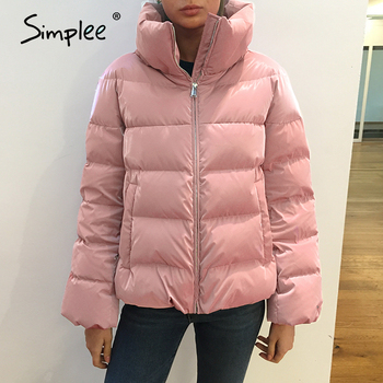 Simplee Causal solid white autumn winter women parkas Warm stand collar long sleeve female jacket High street Down Jackets 2020 7