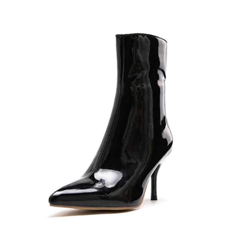 MORAZORA 2020 sıcak moda kadın yarım çizmeler katı renkler sivri burun stiletto yüksek topuklu ayakkabılar basit sonbahar kısa çizmeler kadın