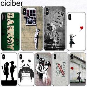 Image 1 - Ciciber etui na telefon iPhone 11 Pro XS MAX X silikonowe etui na Iphone XR 8 7 6 6S Plus 5S SE 2020 Banksy Graffiti Coque Funda