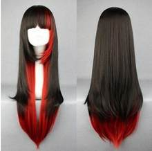 Free Shipping Stylish Full Bang Multi-Layered Long Straight Black Gradient Red Cosplay Wig(China)