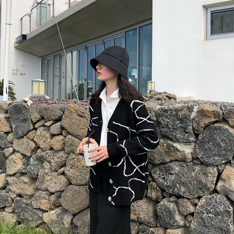 Korean Style Women Autumn Winter Color Patchwork Cardigan Sweater Coat Female Long Sleeve Outwear Knitted Tops (F1367