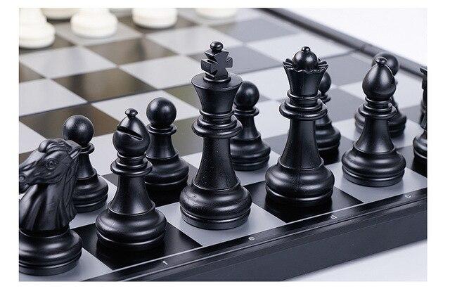 1 jeu de dames magnétiques pliables or, argent, noir et blanc, cartes d'échecs de divertissement, jouet d'échecs YJN 3