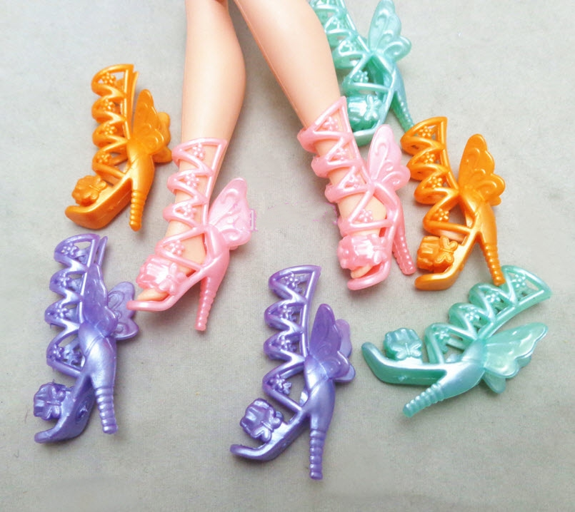 5pairs/lot Fashion Candy Color Butterfly Wings High-Heel Shoes Boots For Barbie Dolls For 1/6 BJD Doll Toy Shoes Girl Gifts Toy