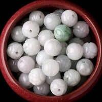 65PC Natürliche Smaragd Jadeit Lotus 8 mm Perlen Zubehör DIY Armreif Charme Schmuck Mode Hand-Geschnitzt Glück Amulett geschenke