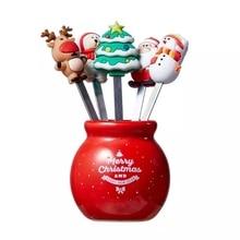 5Pcs/Set Christmas Fruit Fork Stainless Cartoon Santa Claus Salad Stick Dessert For Party Decoration Accessories Vegetable Forks