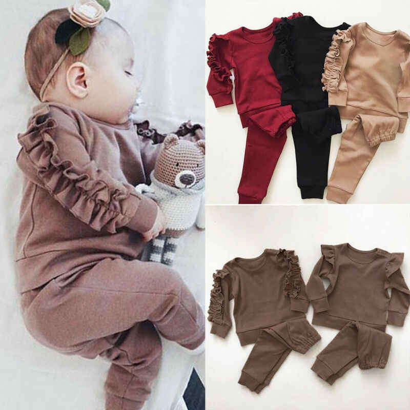 Newborn Baby Boys Girls Ruffles Decor Sweatshirt + Pants Solid Long Sleeve Infant kids Fall clothes 3 Color