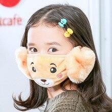 2 в 1, детские наушники с изображением медведя, маска для рта, ветрозащитная, Пылезащитная, зимняя, детская, с защитой от дымки, гриппа, хлопковое покрытие для лица