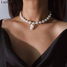 Lacteo Bohemian Imitation Pearl Pendant Necklaces for Women Fashion Geometric Irregularity Clavicle Chain Choker Necklace Gifts