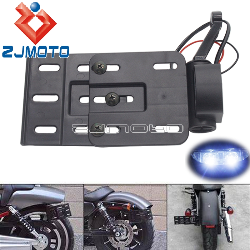 Motorcycle Telescopic Folding LED Light Side License Plate Bracket Mount Holder for Harley Sportster XL 1200 XL 883 R L C N X V