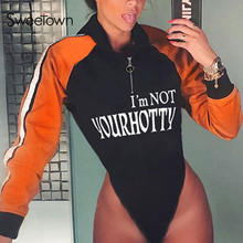 Sweetown Moto & Biker Hoody Bodysuit Striped Patchwork Contrast Color Body Women