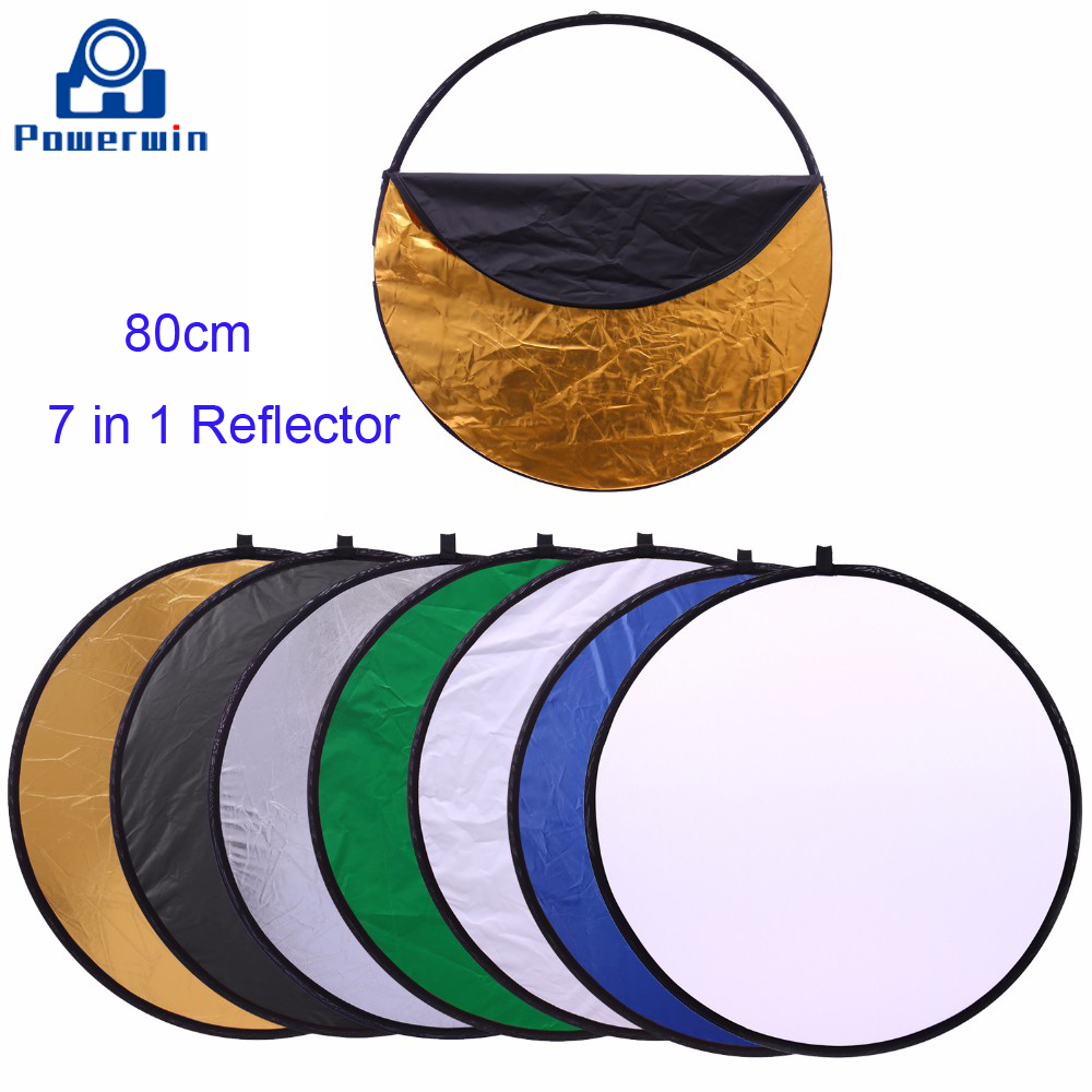 Powerwin 7 In 1 Round Reflector 80cm Portable Collapsible Disc DSLR Camera Studio Video Light Stand Softbox Diffuser Backdrop