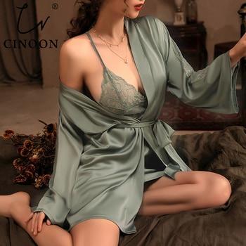 CINOON 3 Pieces Women Pajamas Sets Faux Silk Pajamas Sleepwear Sets Embroidery Lace Bath Gown Wedding Night Dress Robe With Belt 1