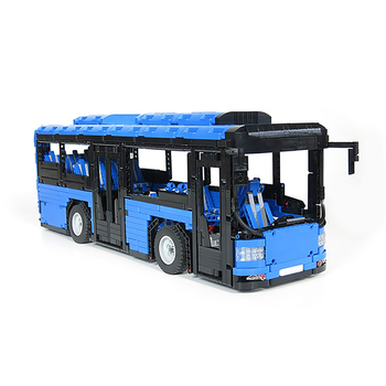 Buildmoc MOC-5161 Creator Brt Double Deck Bus Building Blocks Technic City Blue Bus School Car Bricks Enlightenment Toys for Kid 2
