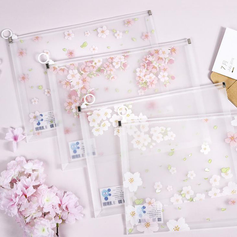 1 Pcs Lovely A4 Cherry Blossoms Sakura Planet Clear Transparent Document Bags Storage Organizer File Folder Stationery Gifts
