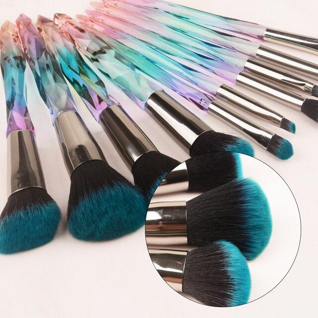 10 pcs Hot Styles 2019 Makeup Brush Powder Blush Foundation Brush Cosmetic Tool  Crystal Handle Brush Make up Brush Kits 2