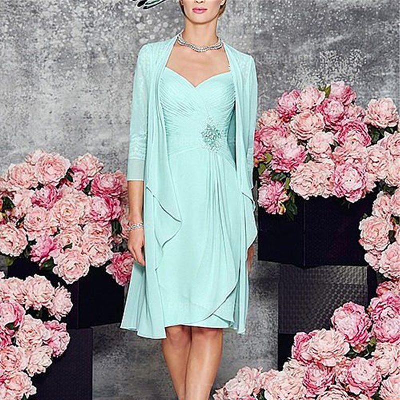 Two-Pieces-Zipper-Mother-of-Bride-Dress-with-Long-Sleeves-Jacket-Simple-Chiffon-Short-Dresses-Knee
