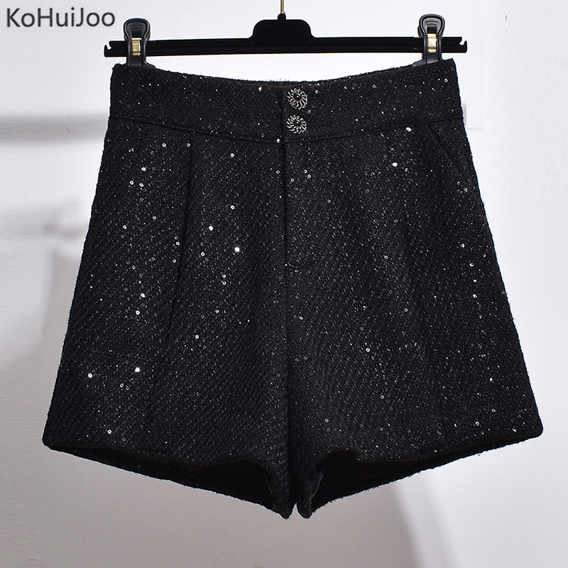 Ladies Tweed Shorts Autumn Winter High Waist Black Fashion Elegant Wide Leg Shorts Women High Street Woolen Shorts Big Size 4XL