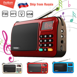 Rolton W405 Mini Portable FM Radio USB TF Radios Set Receiver Speaker Mp3 Music Player With LED Flashlight For PC IPod Phone