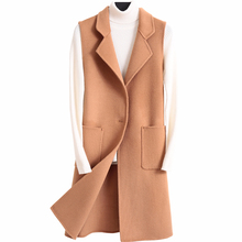 Double 100%Wool long vest women modis soild winter coat jacket 2019 new arrival